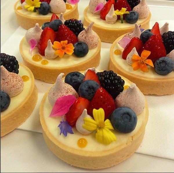 Eggless lemon cream  with berries and meringue