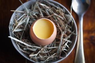Baked hens egg custard with Sauternes