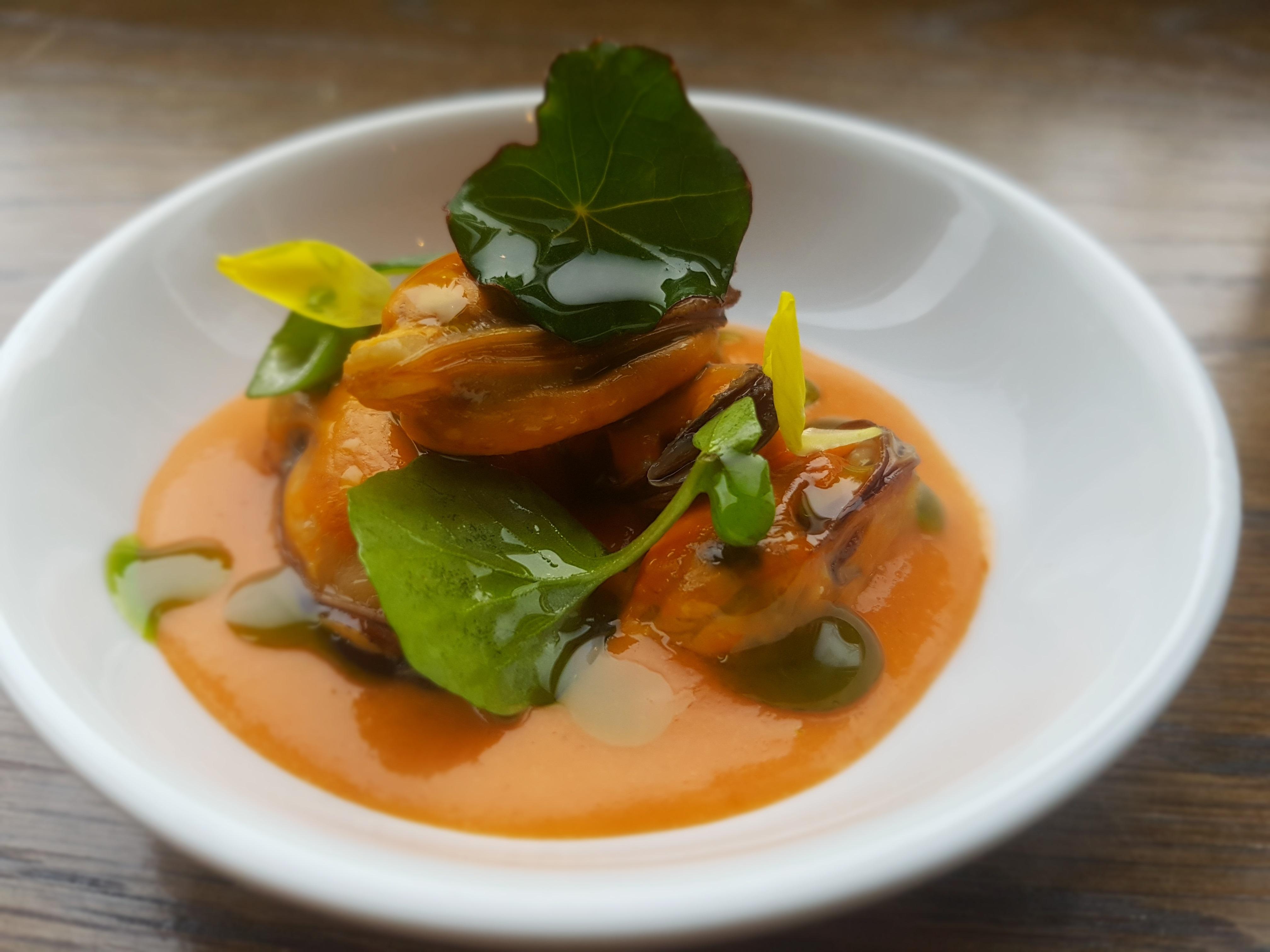 Mussels, ancho chilli,  mussel juice gazpacho