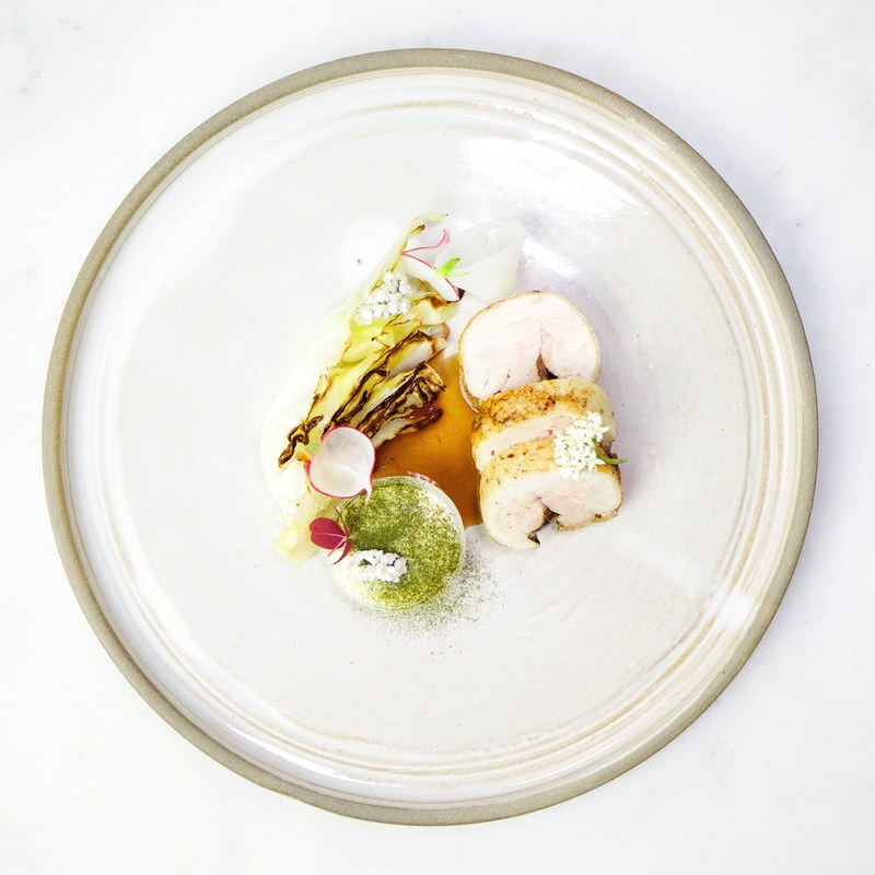 Grilled cabbage • roasted chicken • baked onion • miso cream • chicken jus by chef Filip Poon, The Staff Canteen Member of the Month August 2018