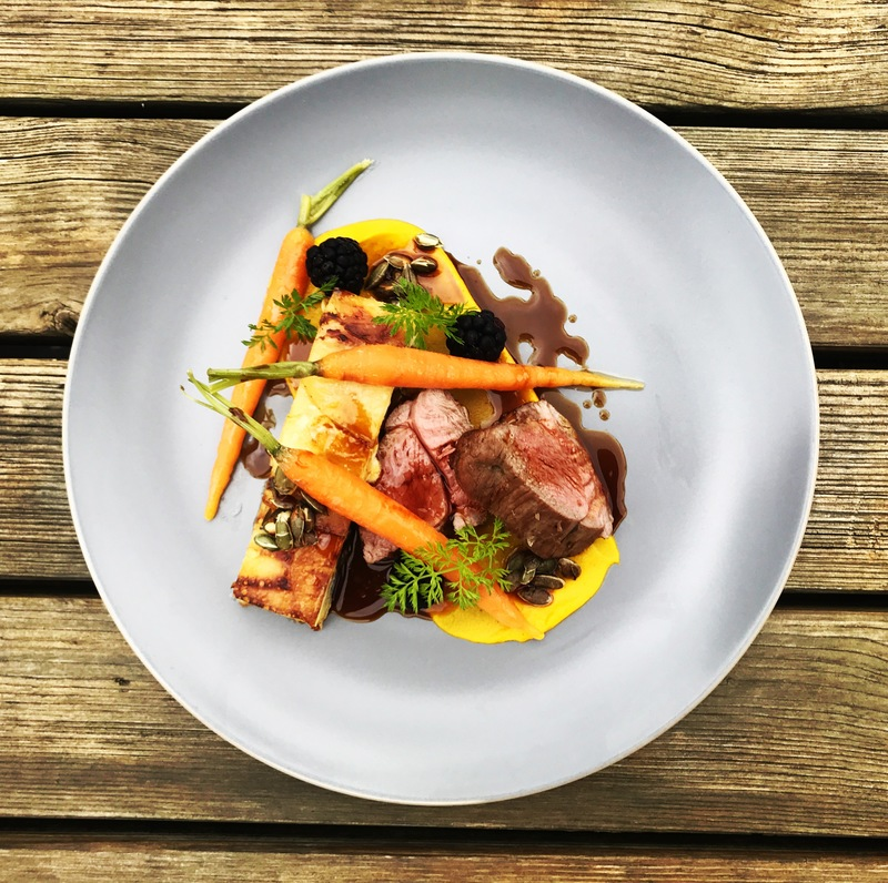Lamb, dauphinoise, carrot, blackberry, pumpkin seed