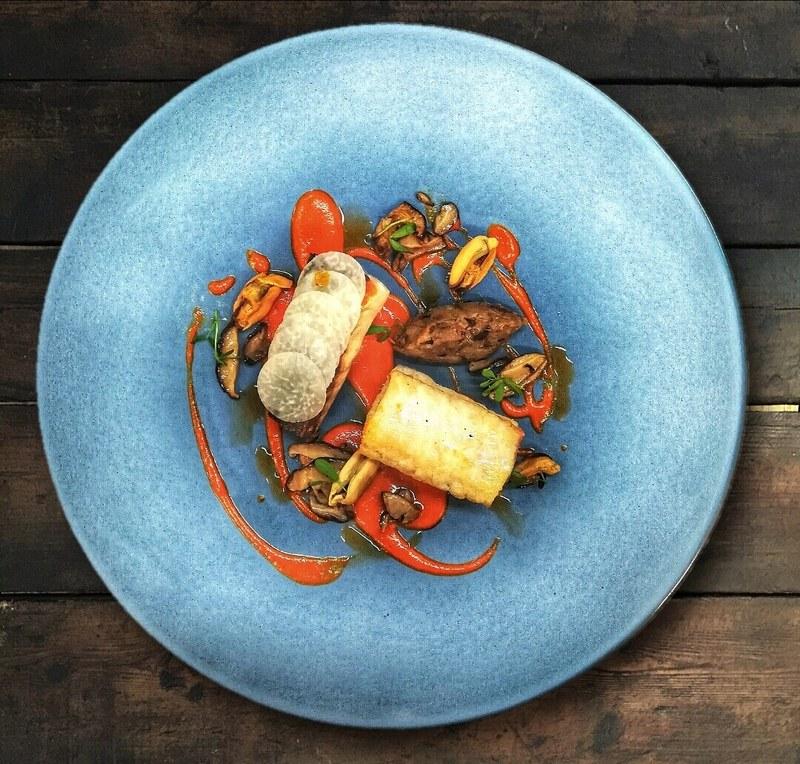 Sea bass, spice aubergine,red pepper, mussels, shiitake mushrooms by chef Onik Minasian, Ginger & Fred restaurant, Czech Republic