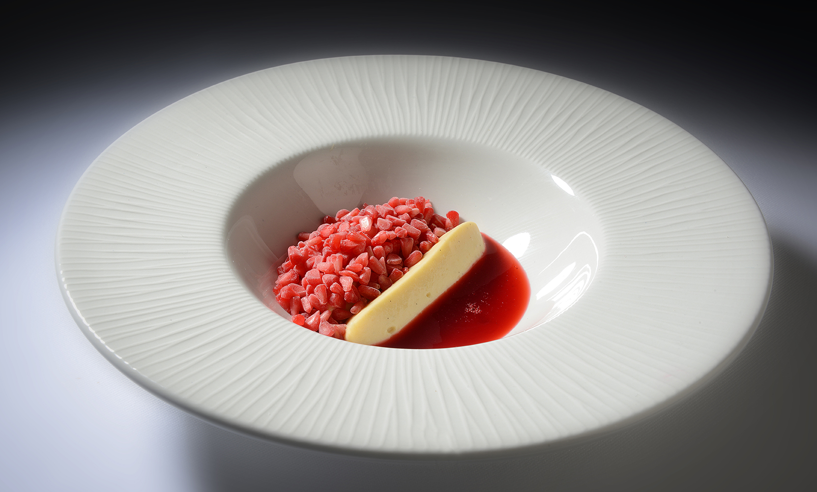 Mead Vinegar Custard, frozen Raspberries and Raspberry Consomme