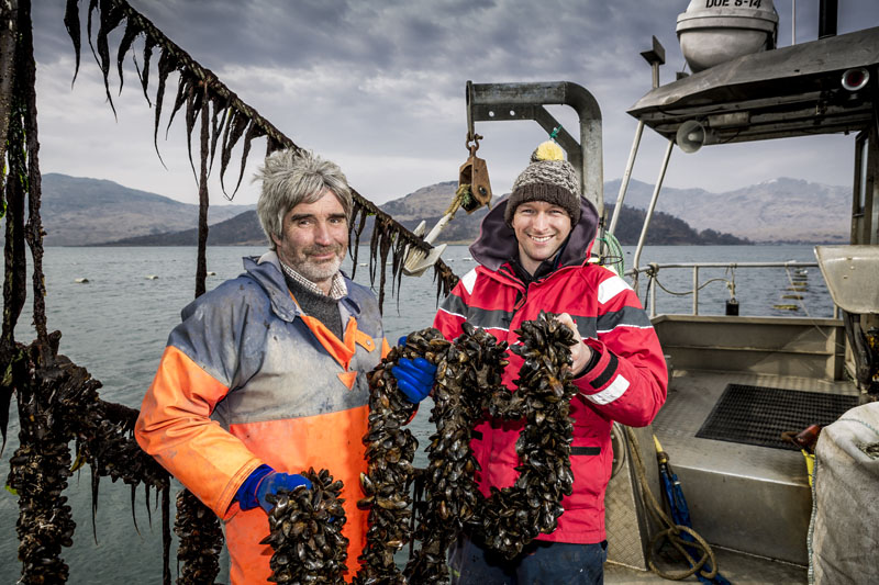 Douglas Wilson with prized Scottish mussels