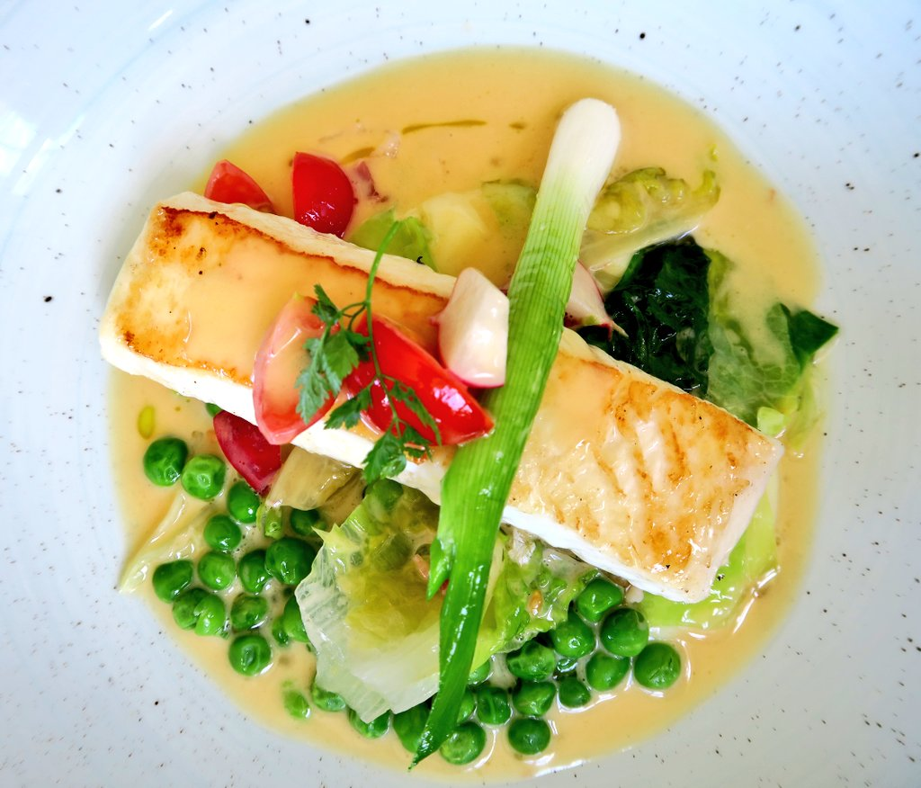 Roast Norwegian Halibut from Glitne with Braised Peas, Lettuce, Mint, Spring Onions andBacon (with fish supplied from Seafood from Norway), TSCLive Networking Lunch at The Beehive, White Waltham