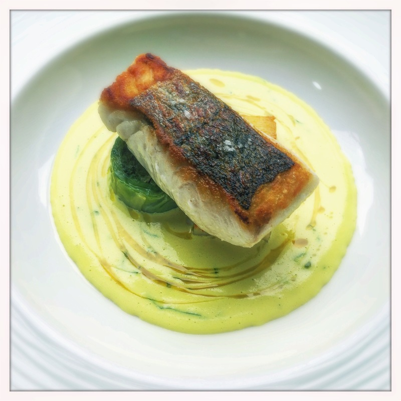 Cornish Hake, curry sauce, cabbage and coriander by chef Tom Brown, Outlaws at the Capital, Cornerstone, Great British Menu, chefs to follow on Instagram, food pic