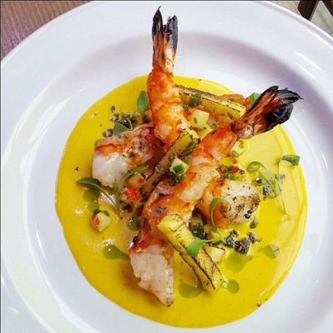 Grilled tiger shrimp, Thai coconut sauce, charred pineapple by chef oli harding, chefs to follow on Instagram, food pics