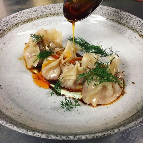 Dumplings with tofu and roasted chilli by chef Andreas Nicoletti, chefs to follow on Instagram, food pic
