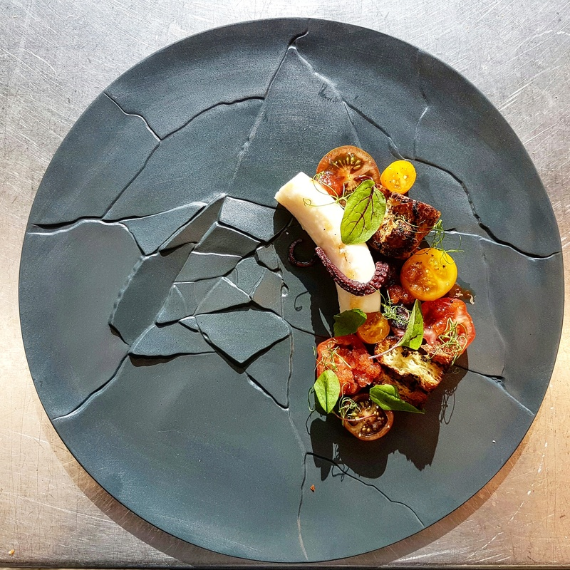 Octopus, garlic, tomato by chef James Oakley, chefs to follow on Instagram, food pic