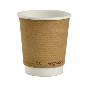 Vegware 8oz double wall brown kraft cup 300x300
