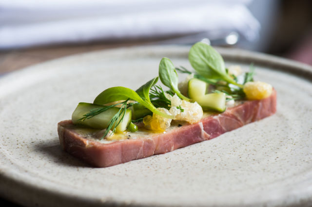 Pressed skate, smoked cucumber, borage and scraps by chef Graham Squire, on the menu at The Lickfold Inn