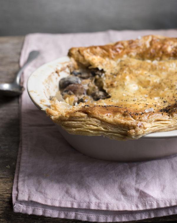 Creamy mushroom  leek and chestnut pie