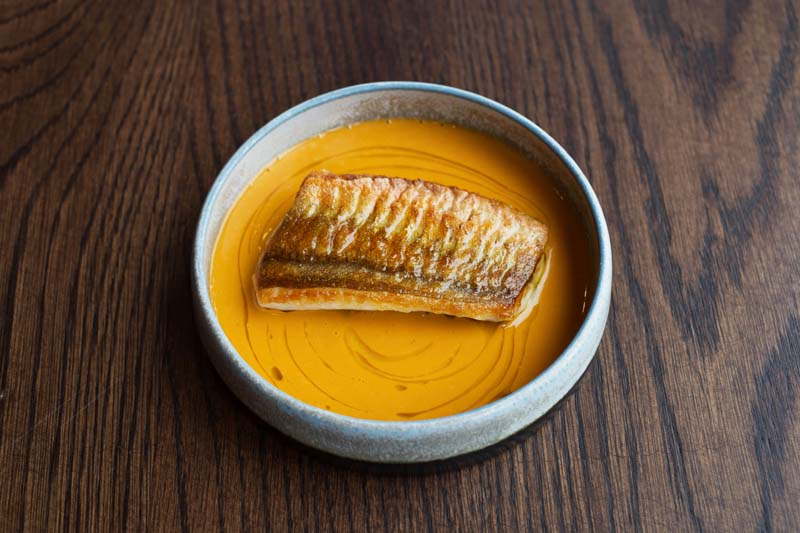 Restaurant Nathan Outlaw, Gurnard with Porthilly Sauce. credit Beth Druce
