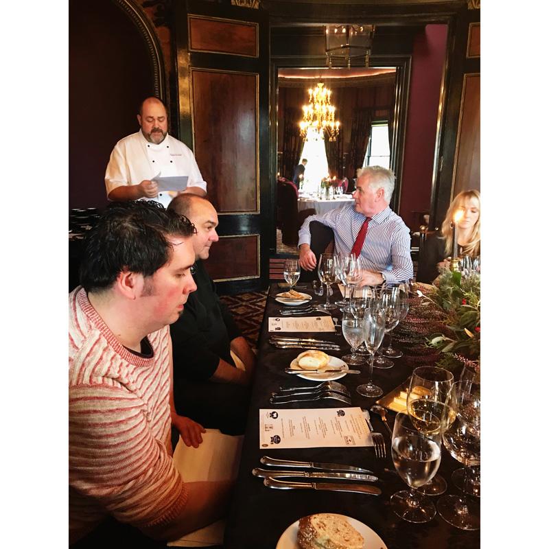 John McMahon introducing the menu at Prestonfield House