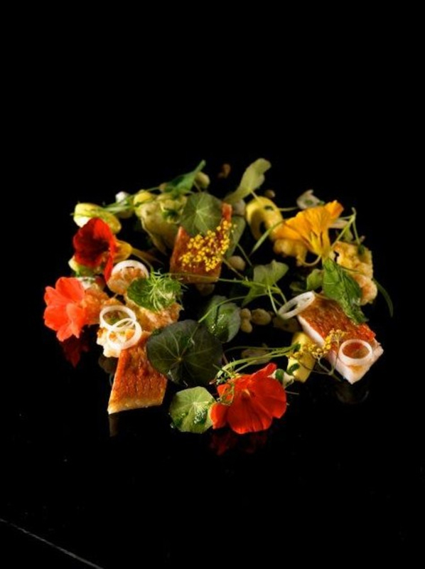 red mullet nasturtium salad